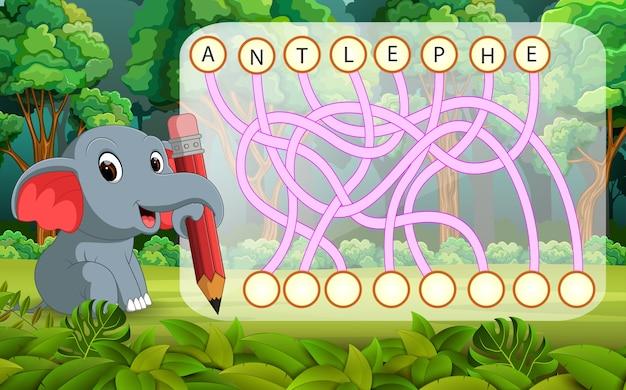 Juego de rompecabezas de lógica para estudiar inglés con elefante ...