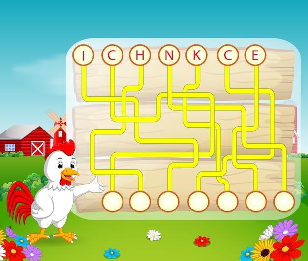 Juego de rompecabezas de lógica para estudiar inglés con gallo ...