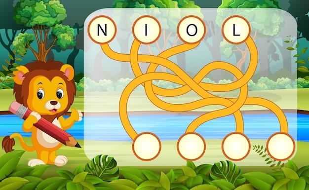 Juego de rompecabezas de lógica para estudiar inglés con león ...
