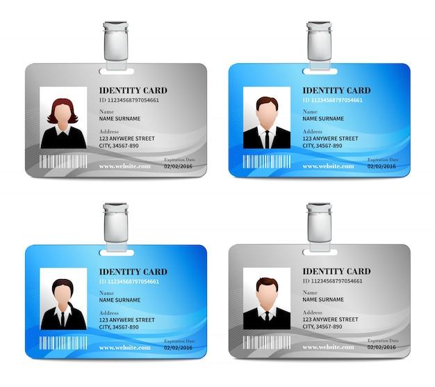Juego de tarjetas de identificación Vector Gratis