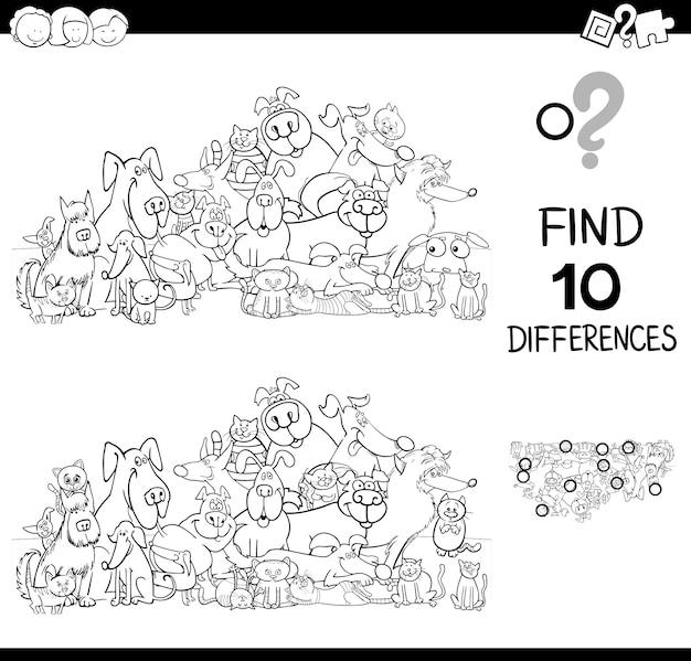 Juego de diferencias con gatos y perros libro de colores   Descargar ...