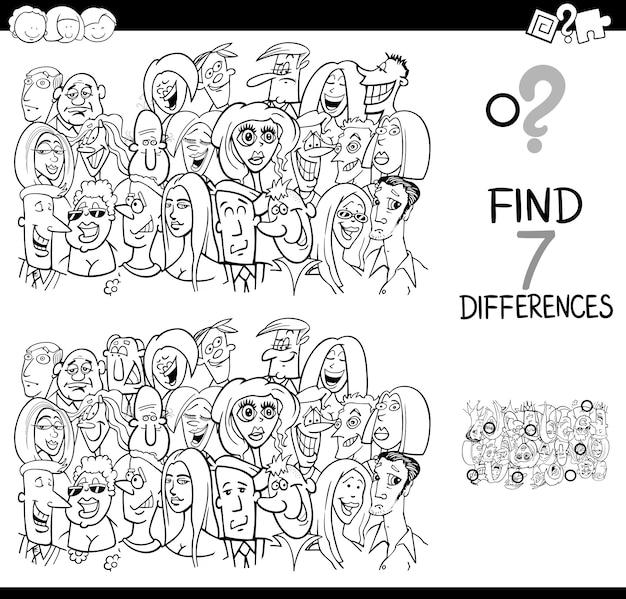 Juego De Diferencias Con Grupo De Personas Para Colorear Descargar