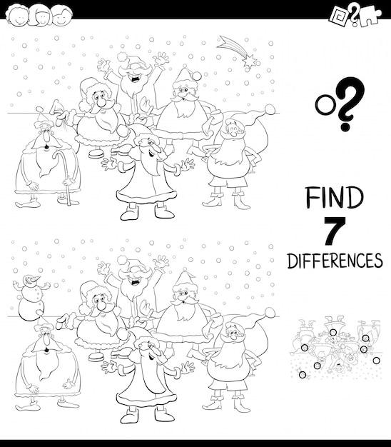 Juego de diferencias con santa para colorear libro | Descargar ...