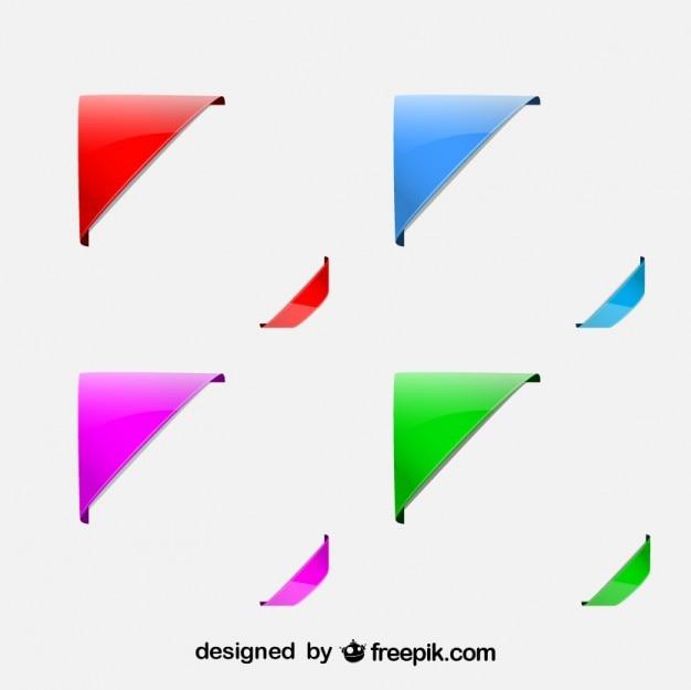 Juego de diseños de esquinas de colores Vector Premium