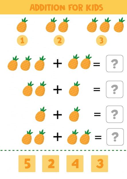 Juego educativo de matemáticas para niños con piñas para niños. Vector Premium