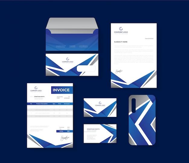 Juego estacionario profesional azul y gris Vector Premium