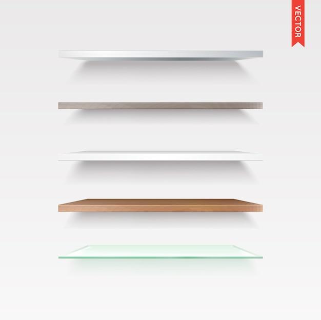 Juego de estantes de vidrio, madera, plástico, metal en aislados en el fondo de la pared Vector Premium