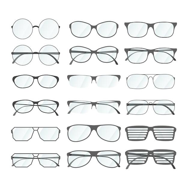 Juego de gafas de montura de diferente estilo en blanco Vector Premium