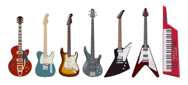 Juego de guitarra. guitarras eléctricas realistas sobre fondo blanco. instrumentos musicales. ilustración. colección Vector Premium