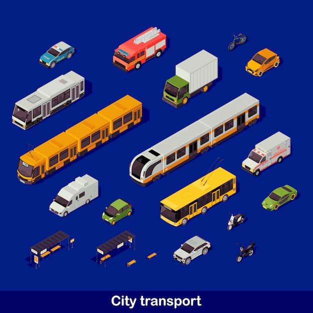 Juego isométrico de transporte urbano Vector Premium