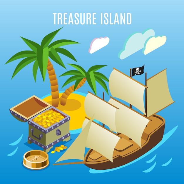 Juego isométrico de treasure island vector gratuito