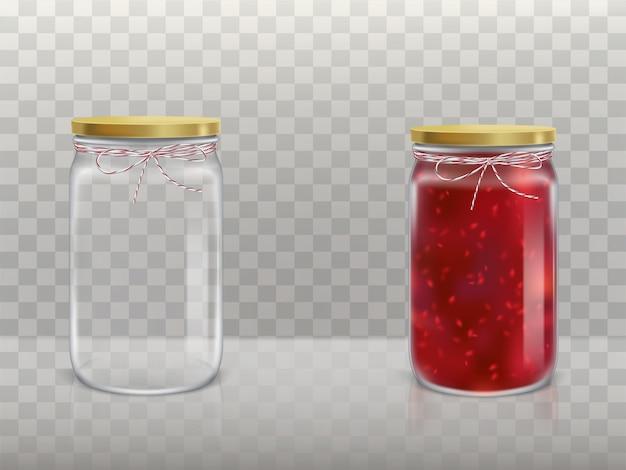 Un juego de jarras redondas de vidrio está vacío y con mermelada de frambuesa cubierta con una tapa vector gratuito