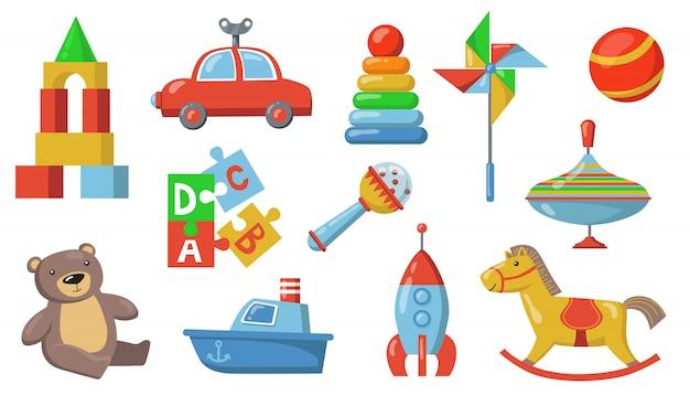 Juego de juguetes para niños vector gratuito