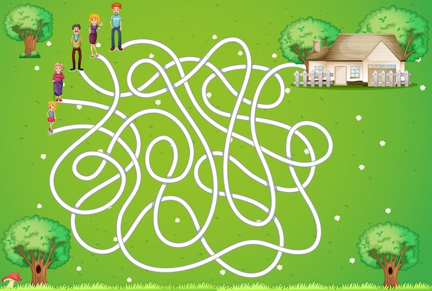 Juego de laberinto con familia y casa. vector gratuito
