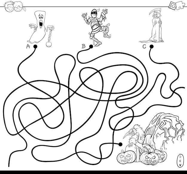 Juego De Laberinto De Lineas Con Libro De Colorear De Personajes De