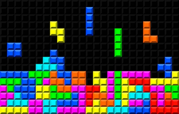 Juego de ladrillo retro tetris Vector Premium