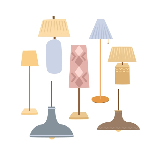Juego de lámparas para el hogar vector gratuito
