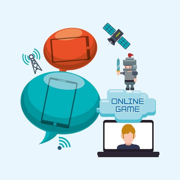 Juego En Linea Portatil Burbuja Discurso Caracter Internet