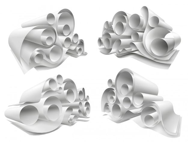 Juego de maquetas de rollos de papel 3d vector gratuito
