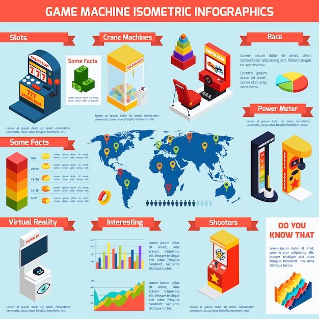 Juego de máquinas de entretenimiento isométrica infografía banner vector gratuito