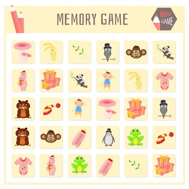 Juego de memoria para niños, mapas de animales, gráficos vectoriales. Vector Premium