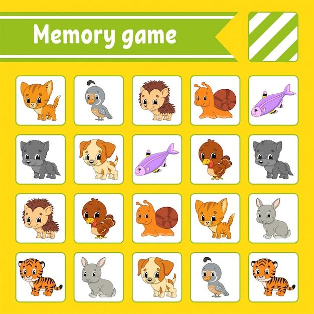 Juego De Memoria Para Niños Vector Premium