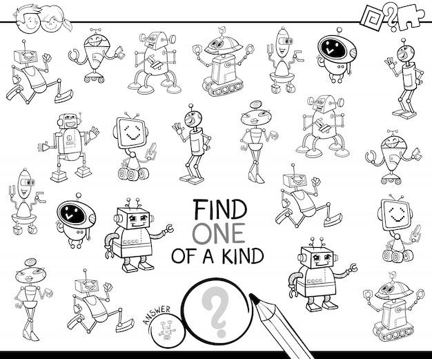 Juego De Mesa Con Robots Para Colorear Descargar Vectores Premium
