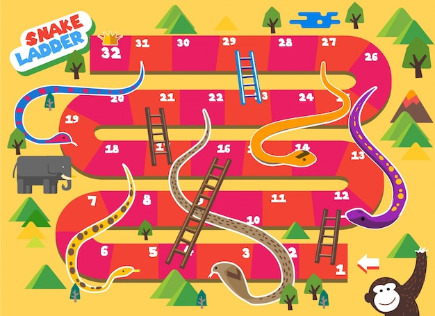 El Juego De Mesa Snake And Ladder Es Divertido Para Ninos