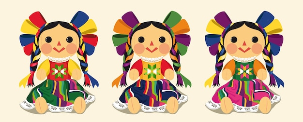 Juego de muñecas maria tradicional mexicana Vector Premium