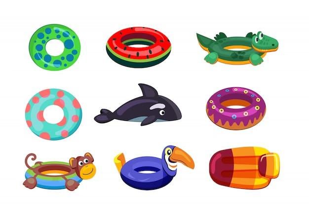 Juego de natación inflable vector gratuito