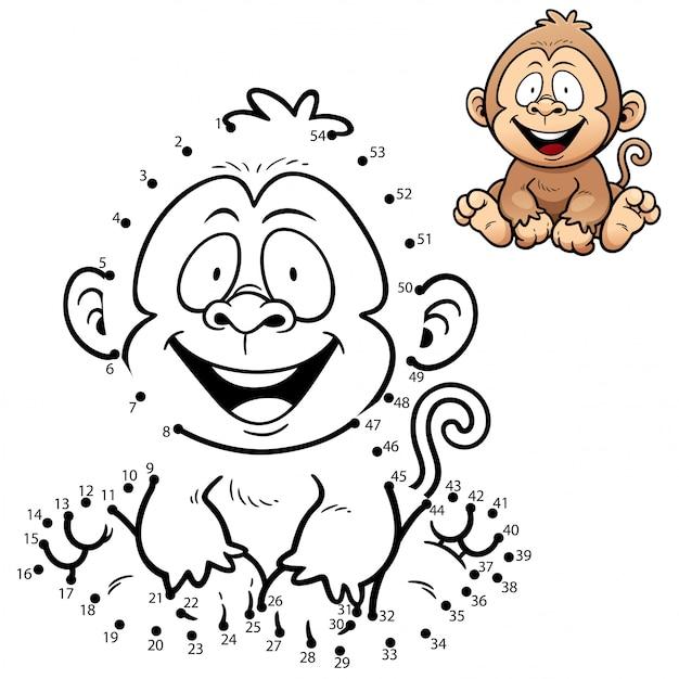 Juego de niños mono punto a punto Vector Premium