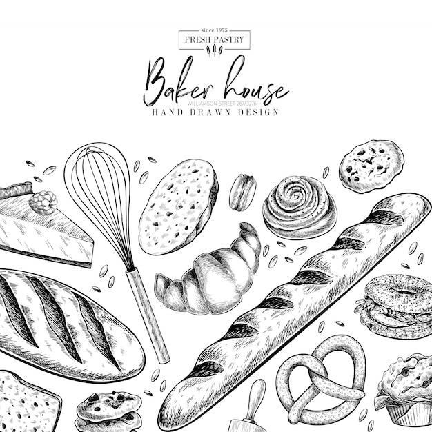 Juego de panadería. dibujados a mano pasteles de harina. plantilla de diseño vectorial Vector Premium