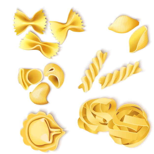 Juego de pasta tradicional italiana vector gratuito