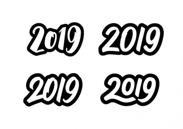Juego de pegatinas happy new year 2019 con caligrafía. Vector Premium