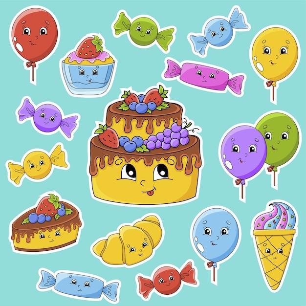 Juego de pegatinas con lindos personajes de dibujos animados. tema de feliz cumpleaños. dibujado a mano. paquete colorido. Vector Premium