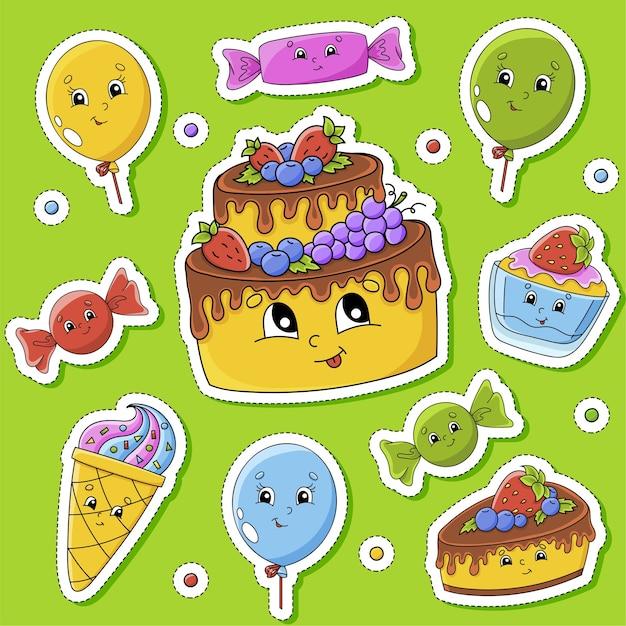 Juego de pegatinas con lindos personajes de dibujos animados. tema de feliz cumpleaños. dibujado a mano. vistoso. Vector Premium