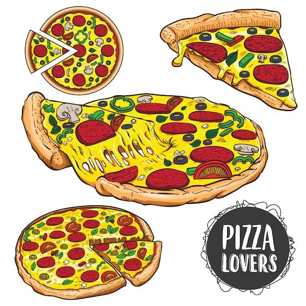 Juego de pizza Vector Premium