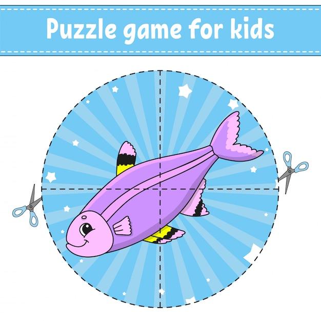 Juego de puzzle para niños. Vector Premium
