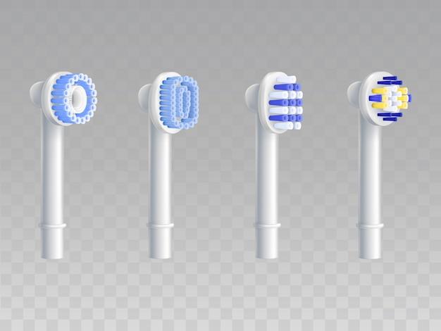 Juego realista 3d de boquillas desmontables para cepillos de dientes. vector gratuito