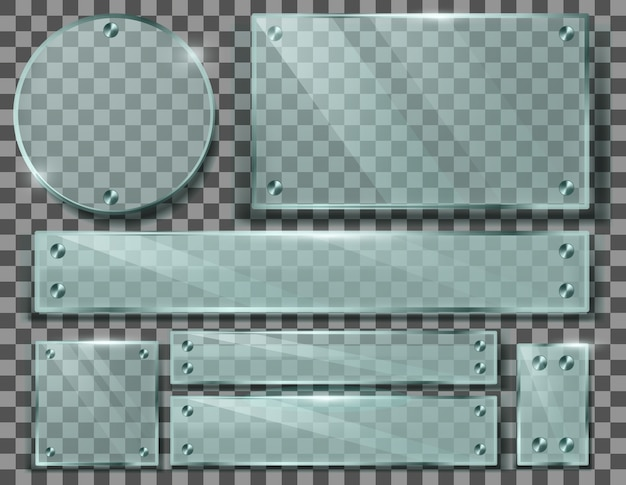 Juego realista de placas de vidrio transparente, marcos en blanco con tornillos metálicos. vector gratuito