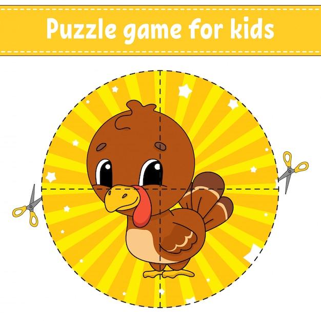 Juego de rompecabezas para niños. Vector Premium