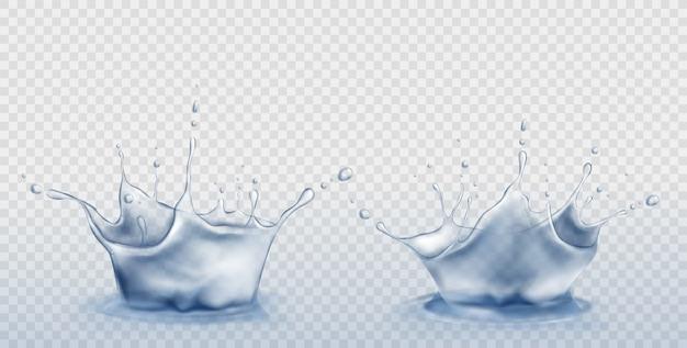 Juego de salpicaduras de agua en forma de corona con gotas vector gratuito