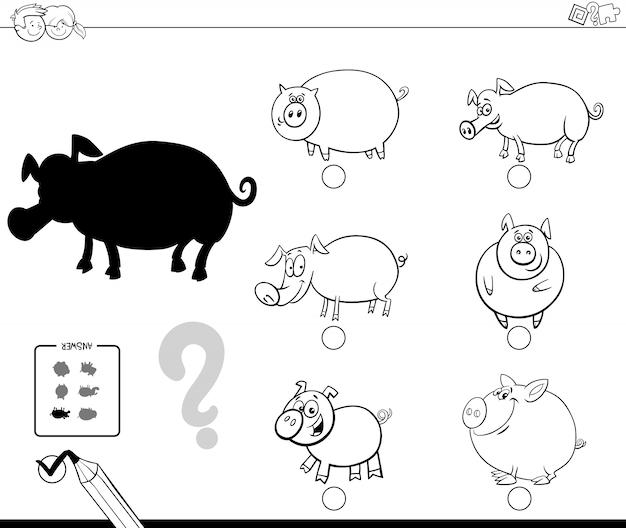 Juego de sombra de animales de cerdos para colorear   Descargar ...