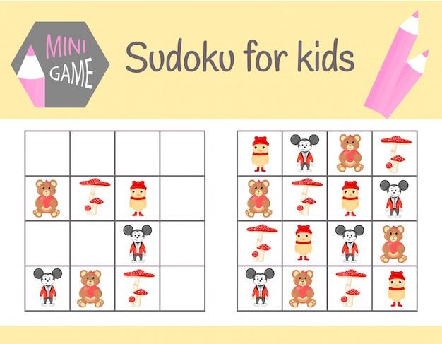 Juego de sudoku para niños con imágenes y animales. sábanas infantiles. aprendiendo lógica, juego educativo Vector Premium