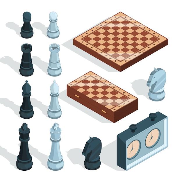 Juego de tablero de ajedrez. estratégico táctico entretenimiento jaque mate piezas de torre alcazar caballero figuras isométricas Vector Premium