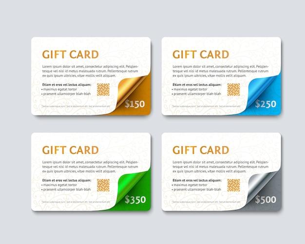 Juego de tarjetas de descuento de regalo con esquinas curvas geométricas doradas, plateadas, verdes y azules. Vector Premium