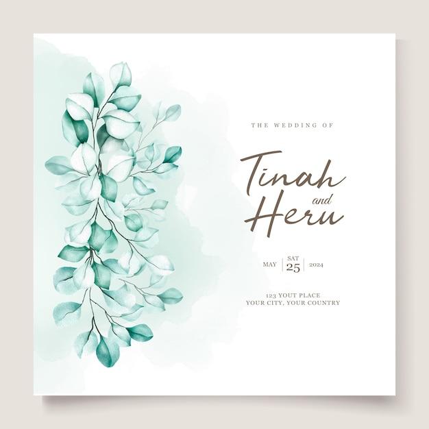 Juego de tarjetas de invitación de boda eucalipto vector gratuito