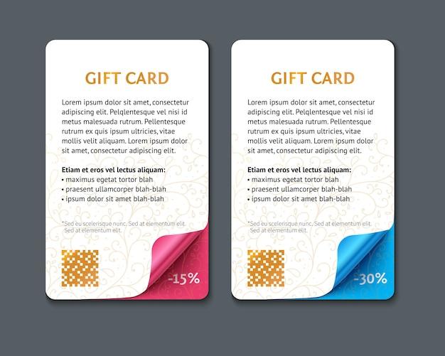 Juego de tarjetas de regalo de papel verticales con esquinas enrolladas. Vector Premium