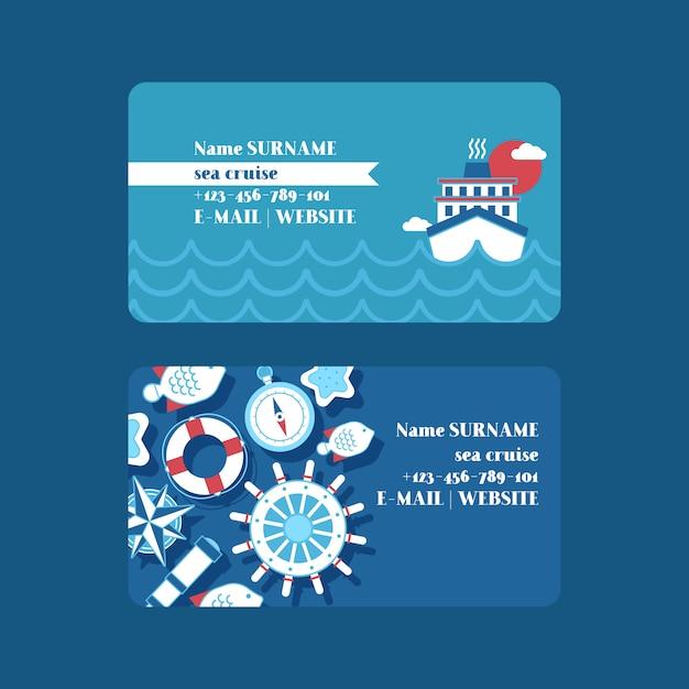 Juego de tarjetas de visita de aventura en cruceros marítimos colección náutica de cosas como rueda de barco, catalejo, brújula, salvavidas. Vector Premium
