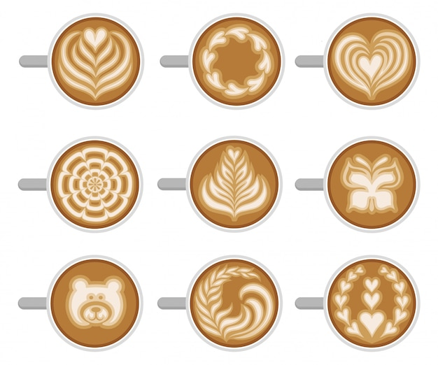 Juego de tazas de café con diferentes latte art, vista superior. capuchino fresco y sabroso. bebida caliente de la mañana Vector Premium